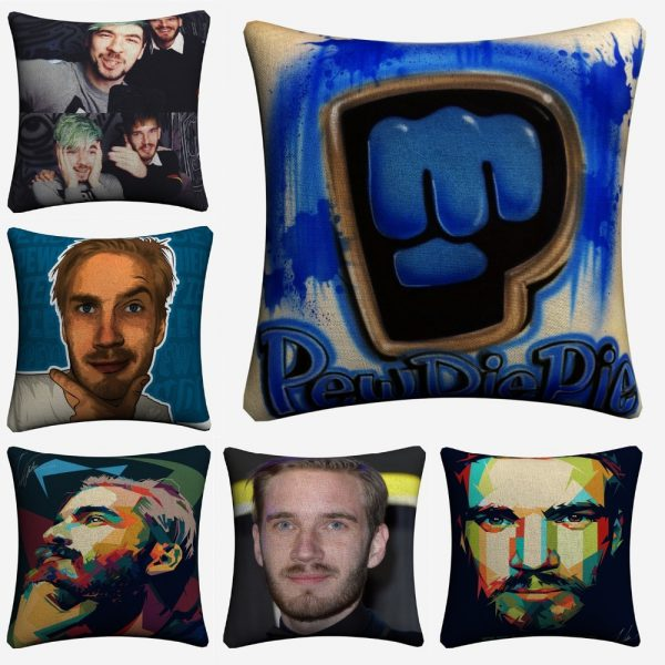 Madu Robearto Pewdiepie TV Show Cotton Linen Decorative Cushion Cover 45x45cm For Sofa Chair Pillow Case 1 - PewDiePie Merch