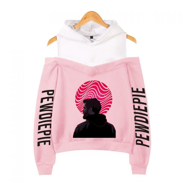 Pewdiepie 2D Personality Wild Women s Off shoulder Hoodie Sweatshirt Sexy Casual Hooded Full Printed Hot 1 - PewDiePie Merch
