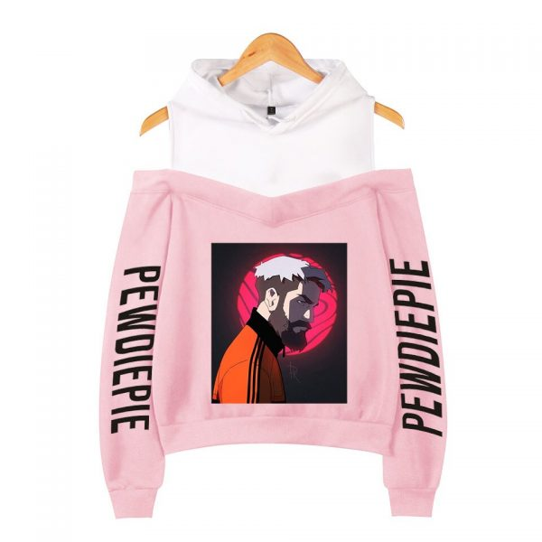 Pewdiepie 2D Personality Wild Women s Off shoulder Hoodie Sweatshirt Sexy Casual Hooded Full Printed Hot 2 - PewDiePie Merch