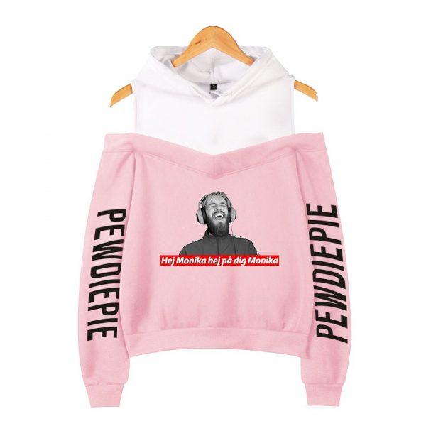 Pewdiepie 2D Personality Wild Women s Off shoulder Hoodie Sweatshirt Sexy Casual Hooded Full Printed Hot 3 - PewDiePie Merch