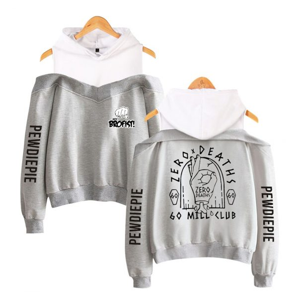 Pewdiepie 2D Personality Wild Women s Off shoulder Hoodie Sweatshirt Sexy Casual Hooded Full Printed Hot 4 - PewDiePie Merch