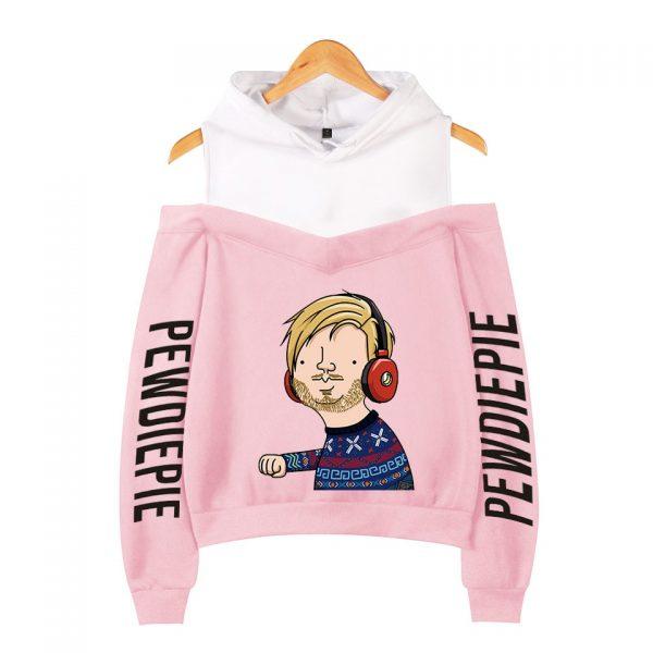 Pewdiepie 2D Personality Wild Women s Off shoulder Hoodie Sweatshirt Sexy Casual Hooded Full Printed Hot - PewDiePie Merch