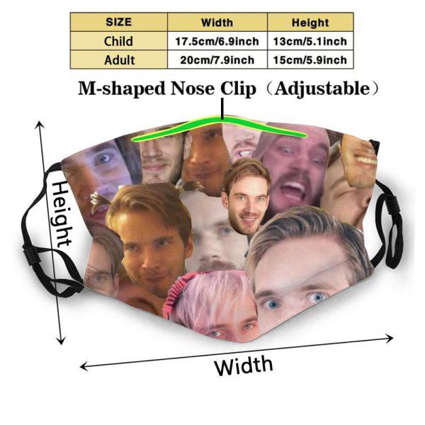 Pewdiepie Face Collage Dustproof Non Disposable Mouth Face Mask Pm2 5 Filters For Child Adult Pewdiepie - PewDiePie Merch