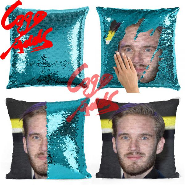 Pewdiepie sequin pillow sequin Pillowcase Two color pillow gift for her gift for him pillow magic 4 - PewDiePie Merch