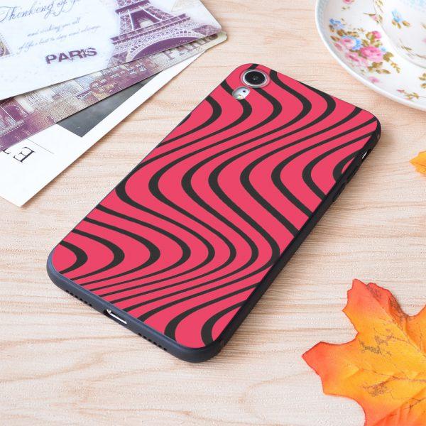 Psychedelic Red Black Pewdiepie Wave Pattern Print Soft Silicone Matt Case For Apple iPhone Case - PewDiePie Merch