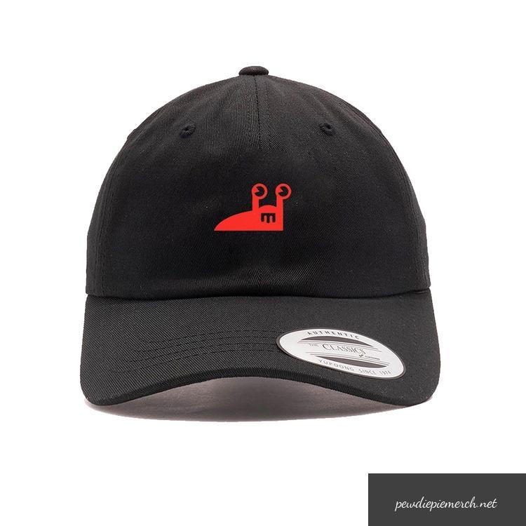 black color with red amp white slug logo pewdiepie hats 1909 - PewDiePie Merch