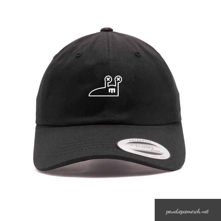 black color with red amp white slug logo pewdiepie hats 7881 - PewDiePie Merch