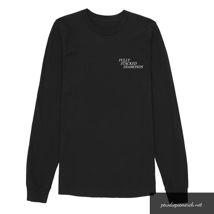 black color with white logo fully stacked diamonds piediepie long sleeves 6507 - PewDiePie Merch