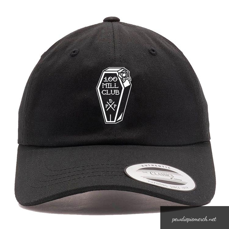 black color with white logo hundred mill club pewdiepie 4623 - PewDiePie Merch