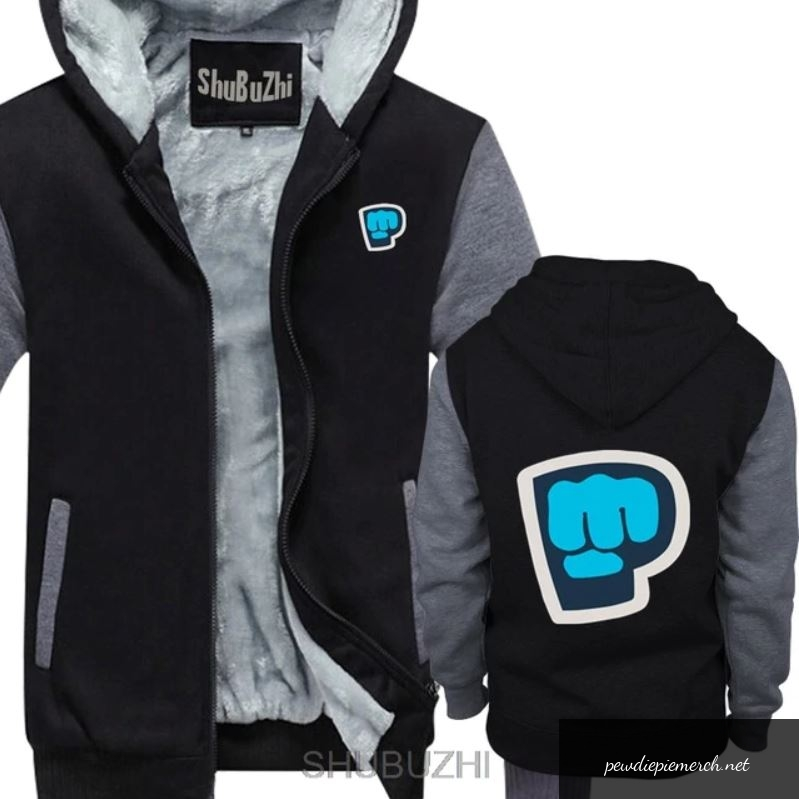 black grey color pewdiepie smash logo zipper hoodie 5945 - PewDiePie Merch