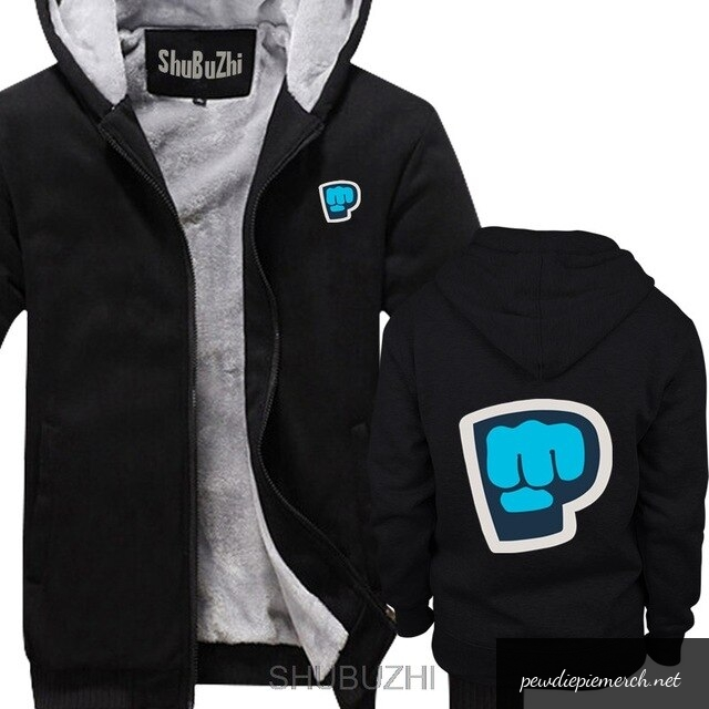 black grey color pewdiepie smash logo zipper hoodie 6514 - PewDiePie Merch