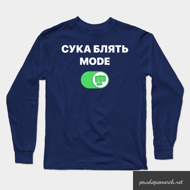 black pewdiepie   cyka blyat mode brofist pewds long sleeve t shirt 1665 - PewDiePie Merch