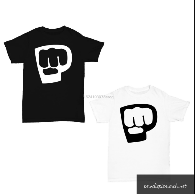 black white color pewdiepie logo white black t shirt 4059 - PewDiePie Merch