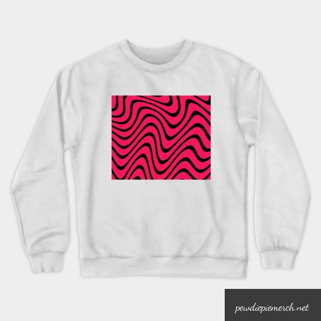 black white red color with pewdiepie pattern sweatshirt 3253 - PewDiePie Merch