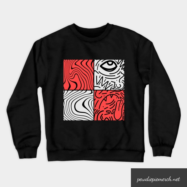 black white red color with pewdiepie sticker crewneck sweatshirt 1037 - PewDiePie Merch