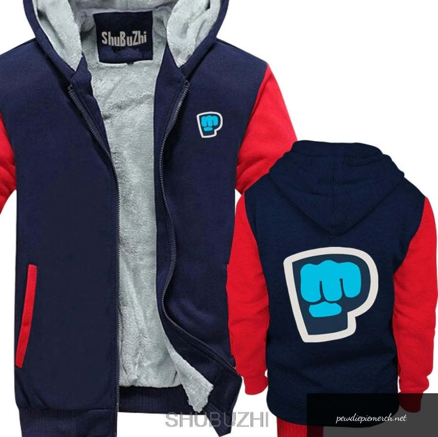blue red grey color pewdiepie smash logo zipper hoodie 3755 - PewDiePie Merch