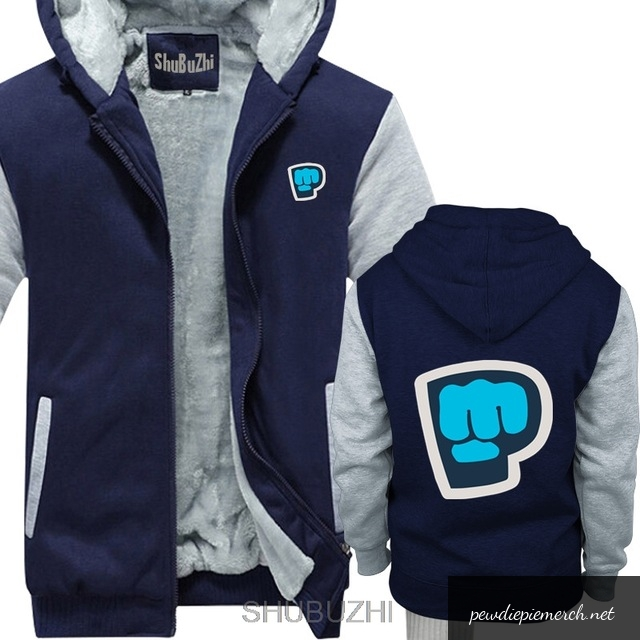 blue red grey color pewdiepie smash logo zipper hoodie 4264 - PewDiePie Merch