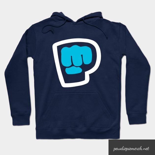 charcoal navy vintage pewdiepie smash logo hoodie 5034 - PewDiePie Merch