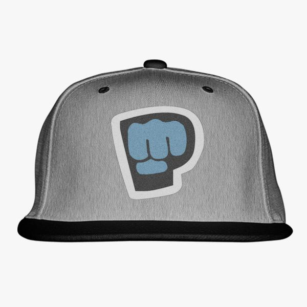 gray blue black color with pewdiepie smash logo snapback hat 6041 - PewDiePie Merch
