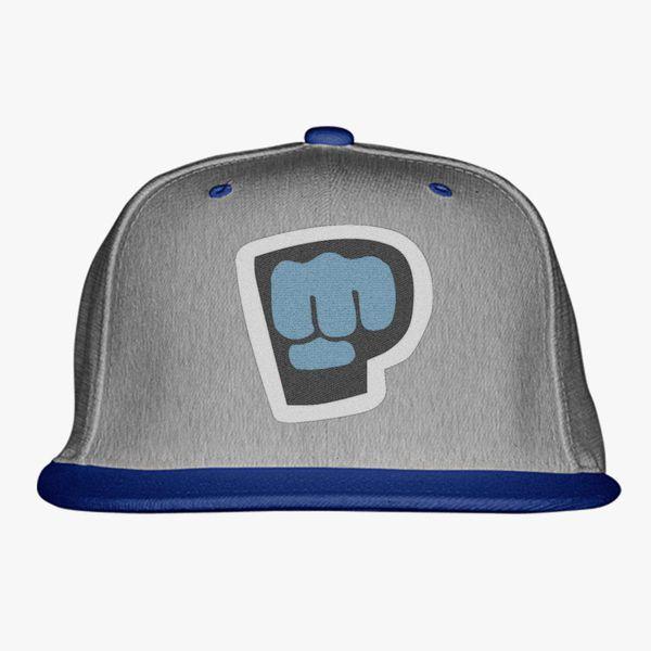 gray blue black color with pewdiepie smash logo snapback hat 8159 - PewDiePie Merch