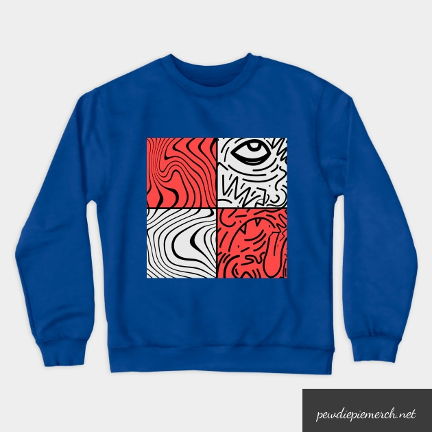 green blue gray color with pewdiepie sticker crewneck sweatshirt 8622 - PewDiePie Merch