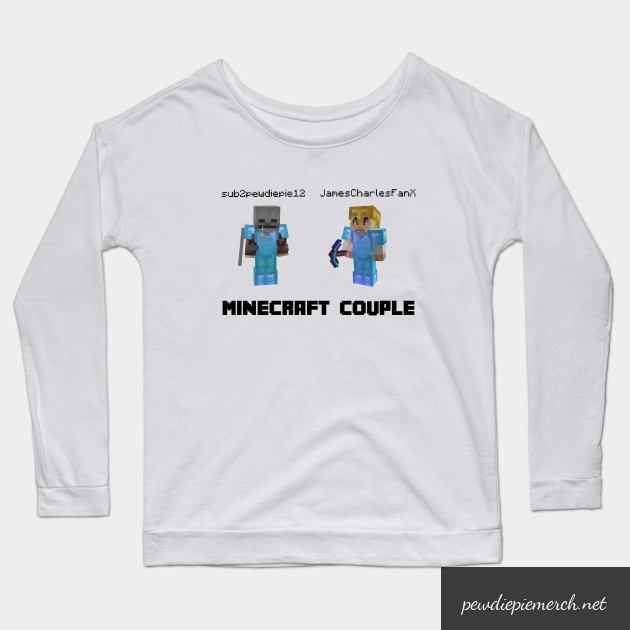 marzia minecraft couple pewdiepie long sleeve t shirt 4367 - PewDiePie Merch