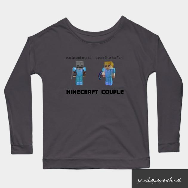 marzia minecraft couple pewdiepie long sleeve t shirt 4403 - PewDiePie Merch