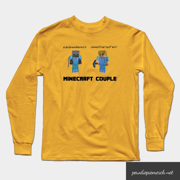 marzia minecraft couple pewdiepie long sleeve t shirt 4480 - PewDiePie Merch