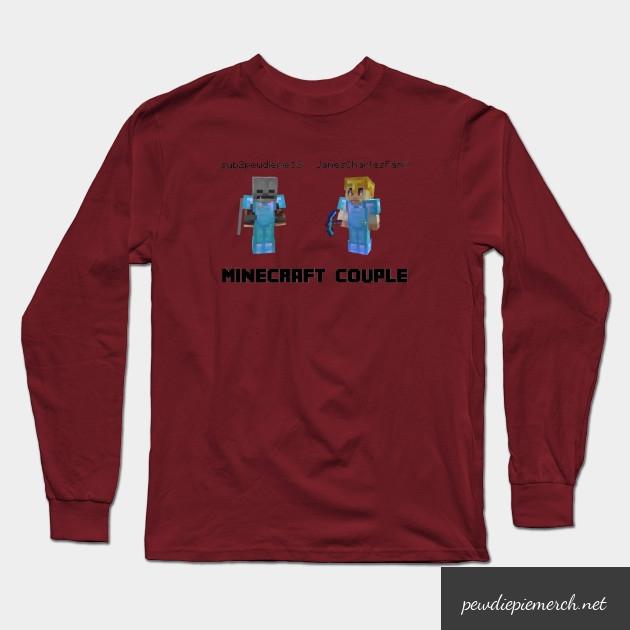 marzia minecraft couple pewdiepie long sleeve t shirt 4881 - PewDiePie Merch