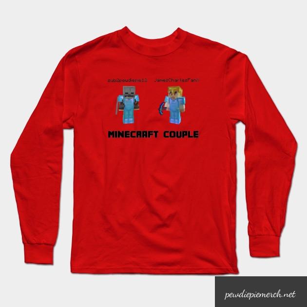 marzia minecraft couple pewdiepie long sleeve t shirt 6049 - PewDiePie Merch
