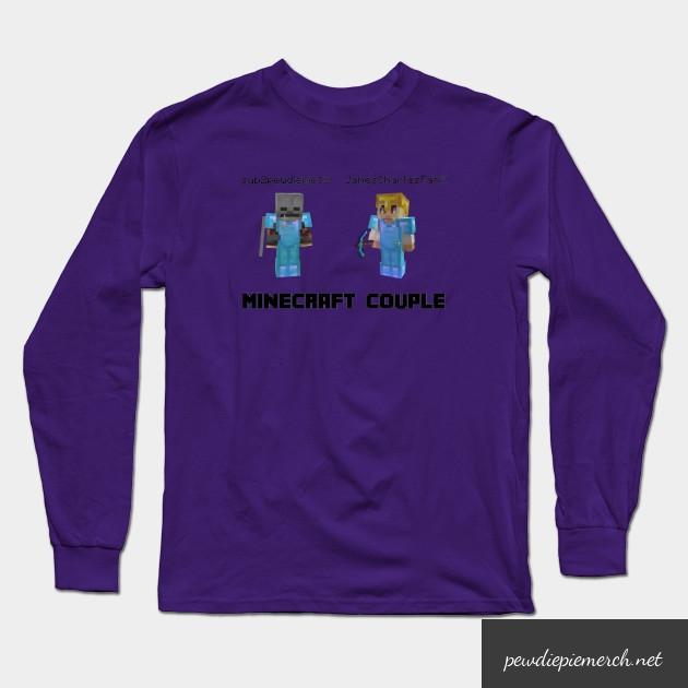 marzia minecraft couple pewdiepie long sleeve t shirt 6540 - PewDiePie Merch