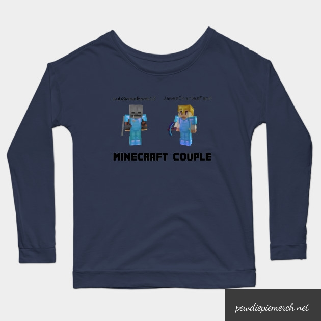 marzia minecraft couple pewdiepie long sleeve t shirt 7487 - PewDiePie Merch