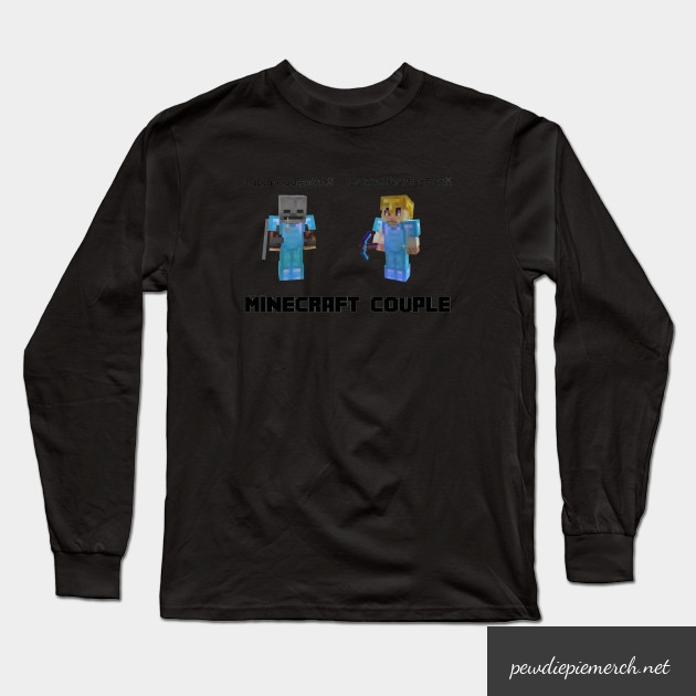 marzia minecraft couple pewdiepie long sleeve t shirt 8799 - PewDiePie Merch