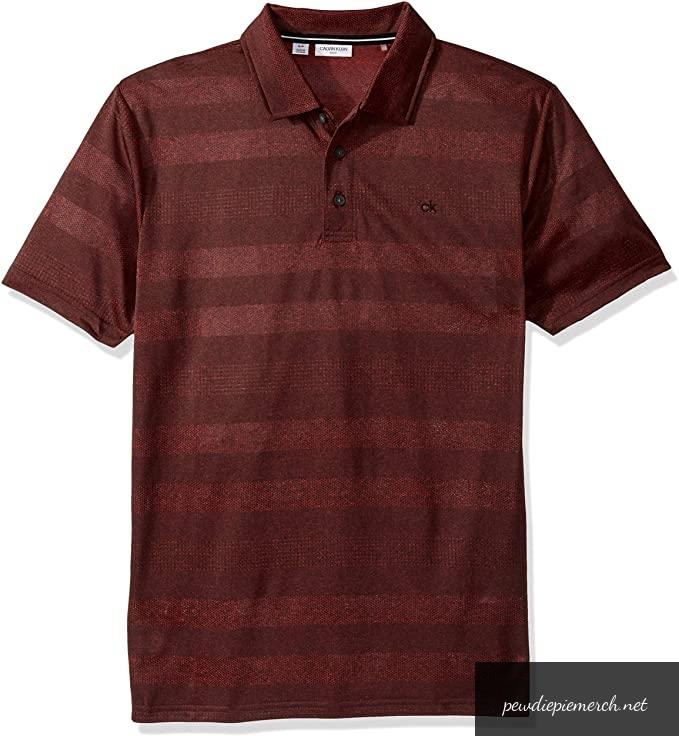 mens short sleeve shadow stripe polo 3749 - PewDiePie Merch