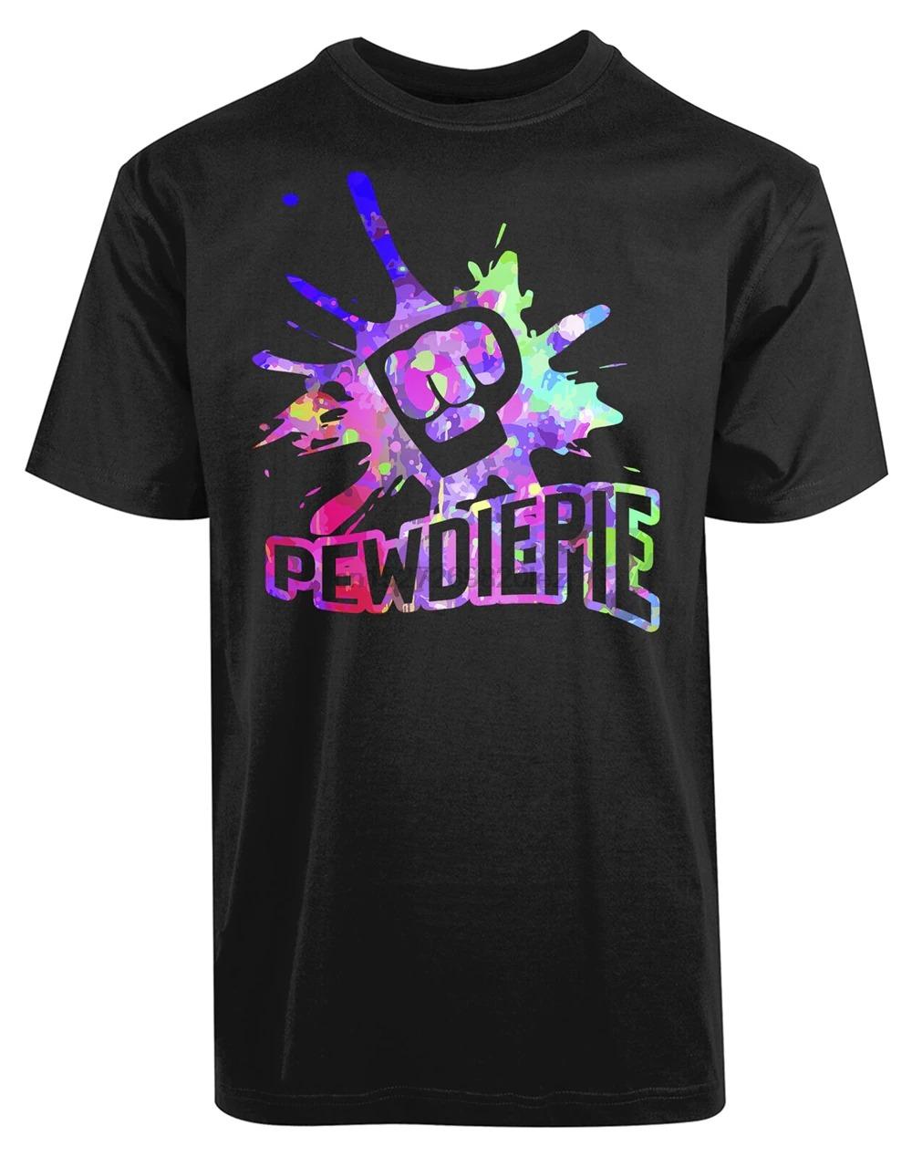 pewdiepie colorful printed logo black t shirt 6399 - PewDiePie Merch