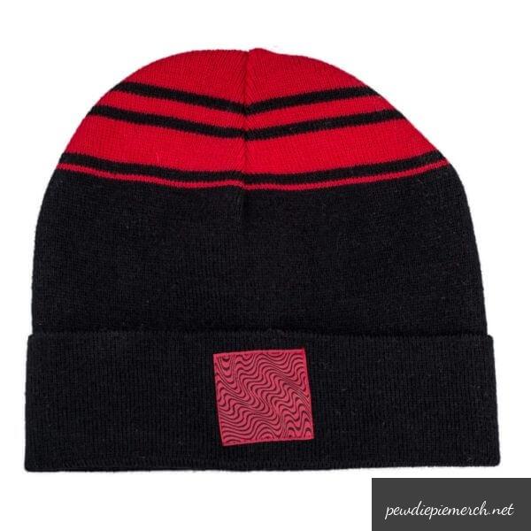 red amp black color pewdiepie logo beanie beanie 3110 - PewDiePie Merch