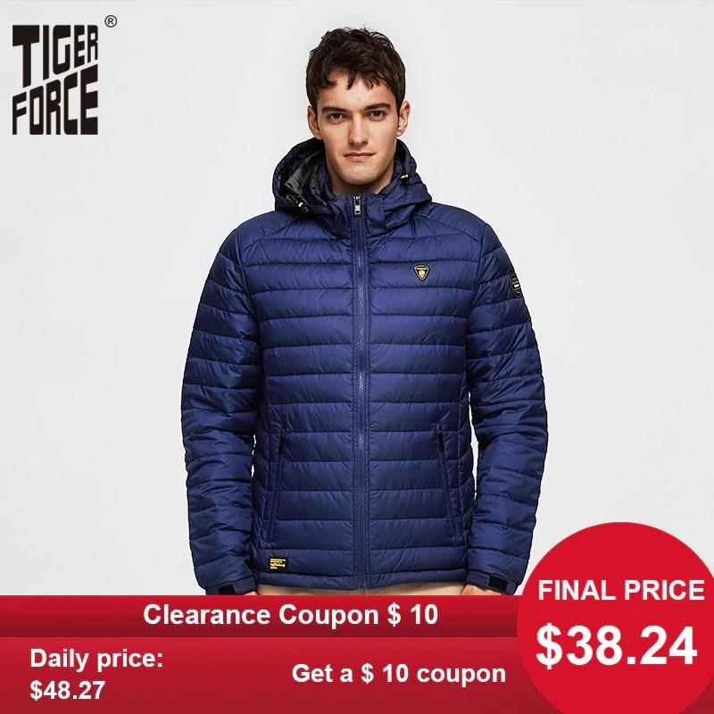 tiger force men spring jacket fashion cotton padded jackets casual coat detachable hood parka 6613 - PewDiePie Merch