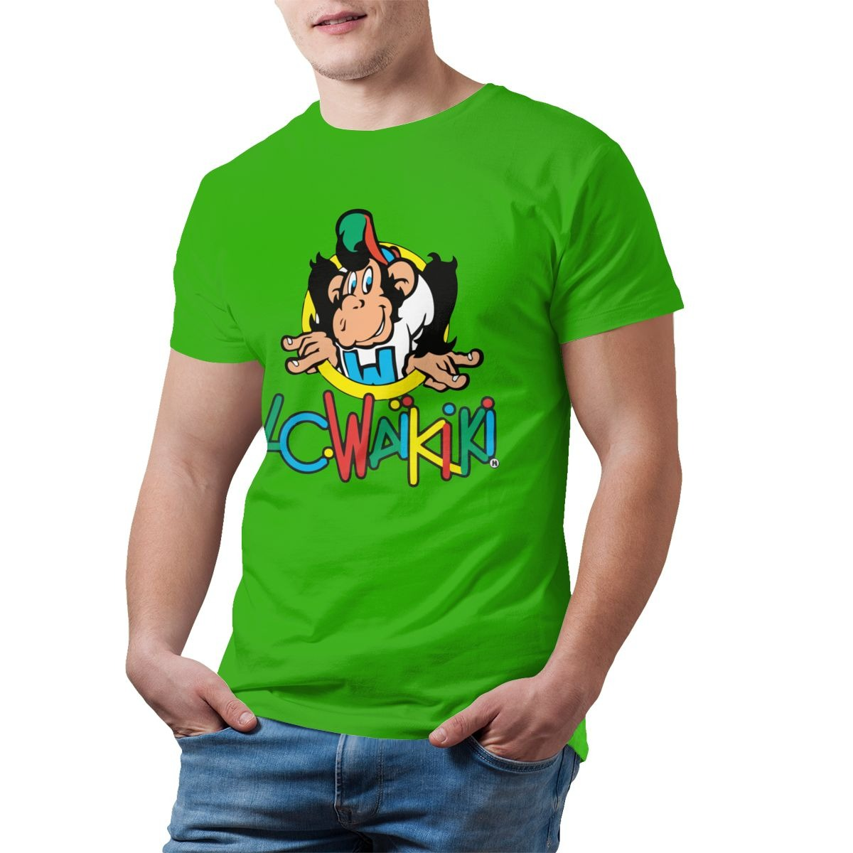 top monkey t shirt lc waikiki monkey merchandise t shirt graphic cotton tee shirt mens short sleeves beach tshirt print casual 3858 - PewDiePie Merch