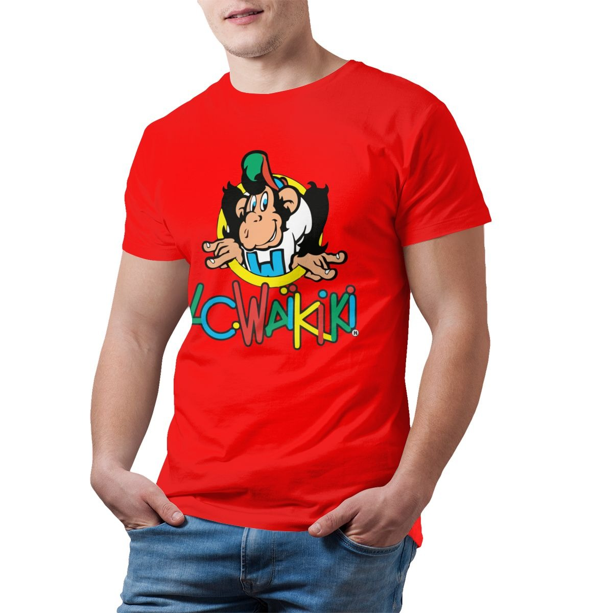 top monkey t shirt lc waikiki monkey merchandise t shirt graphic cotton tee shirt mens short sleeves beach tshirt print casual 4923 - PewDiePie Merch