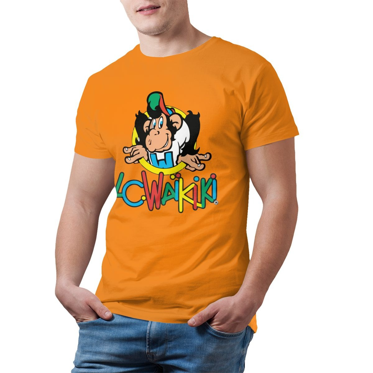 top monkey t shirt lc waikiki monkey merchandise t shirt graphic cotton tee shirt mens short sleeves beach tshirt print casual 7758 - PewDiePie Merch