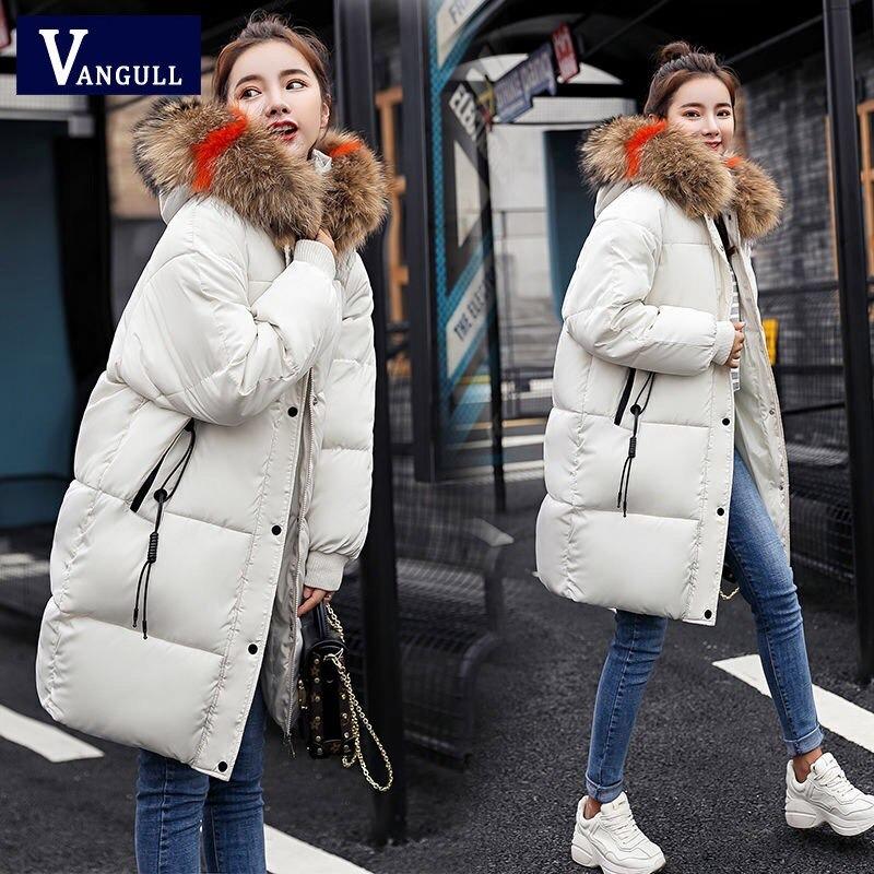 vangull loose warm winter jackets coats women hooded fur coat down parkas long cotton padded jacket 1467 - PewDiePie Merch