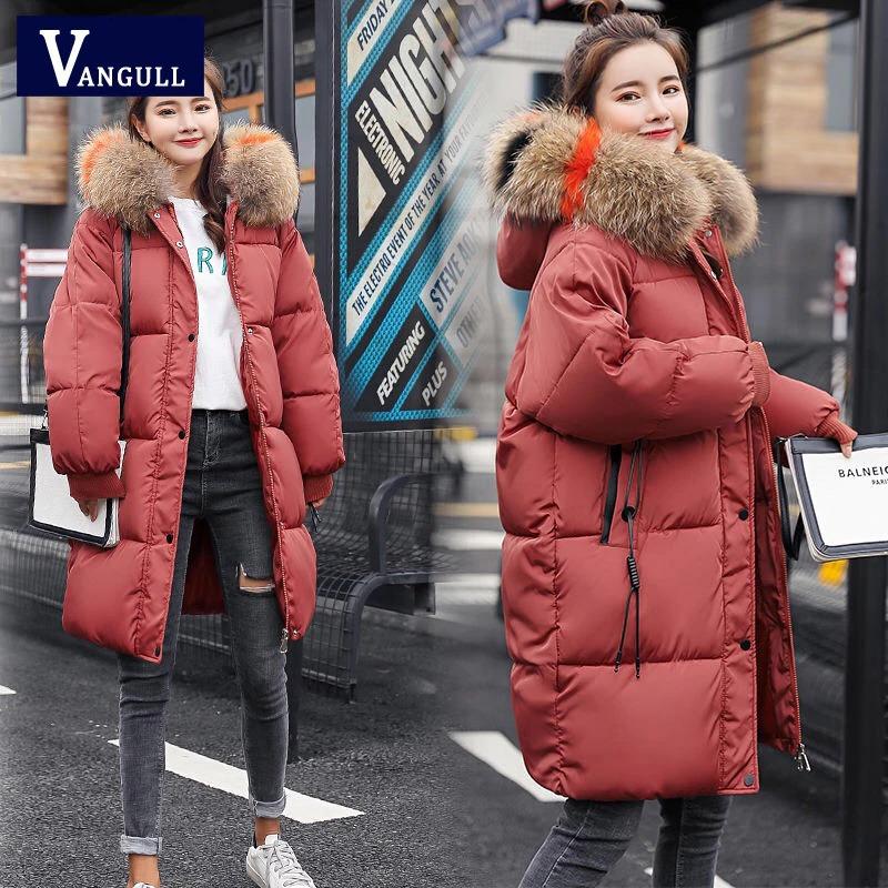 vangull loose warm winter jackets coats women hooded fur coat down parkas long cotton padded jacket 5545 - PewDiePie Merch