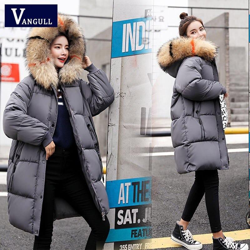 vangull loose warm winter jackets coats women hooded fur coat down parkas long cotton padded jacket 7225 - PewDiePie Merch