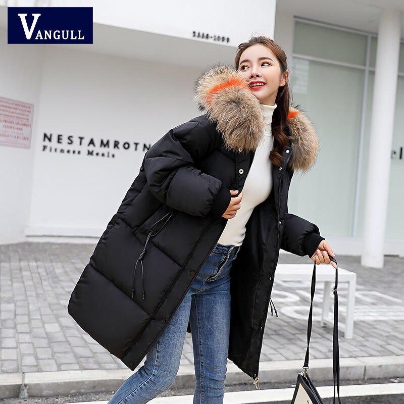 vangull loose warm winter jackets coats women hooded fur coat down parkas long cotton padded jacket 8045 - PewDiePie Merch