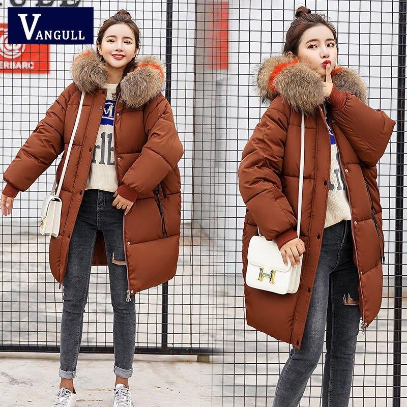 vangull loose warm winter jackets coats women hooded fur coat down parkas long cotton padded jacket 8542 - PewDiePie Merch