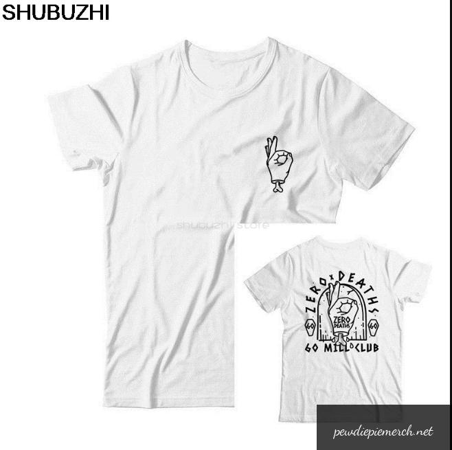 white shirt with pewdiepie zero deaths t shirt 1838 - PewDiePie Merch